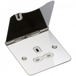 Knightsbridge Flat Plate Polished Chrome 13A 1 Gang Floor Socket - White Insert