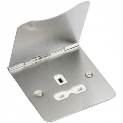 Knightsbridge Flat Plate Brushed Chrome 13A 1 Gang Floor Socket - White Insert