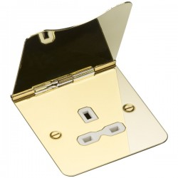 Knightsbridge Flat Plate Polished Brass 13A 1 Gang Floor Socket White Insert