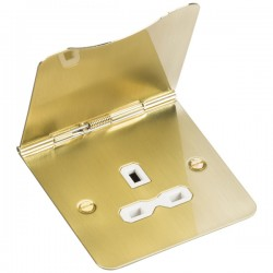 Knightsbridge Flat Plate Brushed Brass 13A 1 Gang Floor Socket - White Insert
