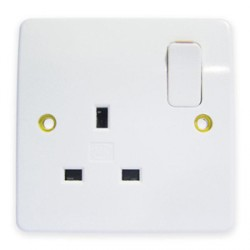 MK Electric Logic Plus™ White 13A 1 Gang Double Pole Switched Socket