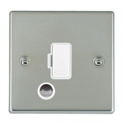 Hamilton Hartland Bright Steel 1 Gang 13A Fuse + Cable Outlet with White Insert