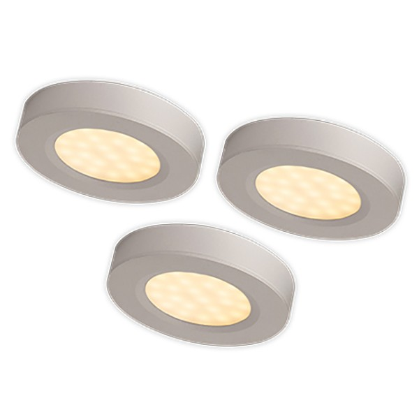 An Trio 3x3w Warm White Led Cabinet Light Kit With Silver Finish