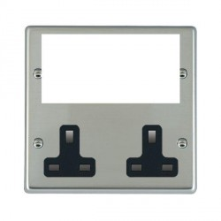 Hamilton Hartland Media Plates Bright Steel Media Plate containing 2 Gang 13A Unswitched Socket + EURO4 aperture with Black Insert