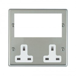 Hamilton Hartland Media Plates Bright Steel Media Plate containing 2 Gang 13A Unswitched Socket + EURO4 aperture with White Insert