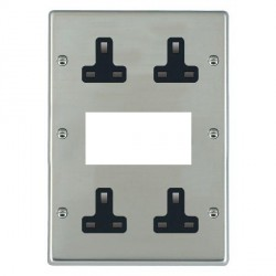 Hamilton Hartland Bright Steel Media Plate containing 2 Gang 13A Unswitched Socket, 2 Gang 13A Unswitched Socket, EURO4 aperture with Black Insert
