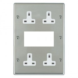 Hamilton Hartland Bright Steel Media Plate containing 2 Gang 13A Unswitched Socket, 2 Gang 13A Unswitched Socket, EURO4 aperture with White Insert