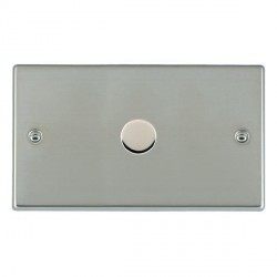 Hamilton Hartland Bright Steel Push On/Off Dimmer 1 Gang 2 way 1000W with Bright Steel Insert