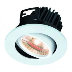 Knightsbridge FireKnight 7W Warm White Dimmable Tilt LED Downlight with White Bezel