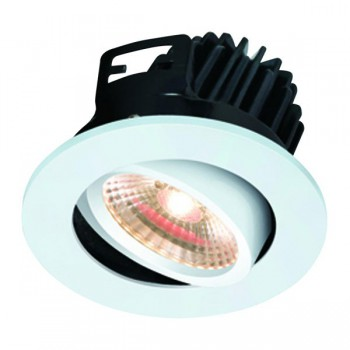 Knightsbridge FireKnight 7W Warm White Dimmable Tilt LED Downlight with White Bezel