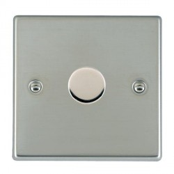 Hamilton Hartland Bright Steel Push On/Off Dimmer 1 Gang Multi-way 250W/VA Trailing Edge with Bright Steel Insert