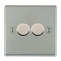 Hamilton Hartland Bright Steel Push On/Off Dimmer 2 Gang 2 way 400W with Bright Steel Insert