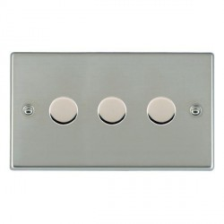 Hamilton Hartland Bright Steel Push On/Off Dimmer 3 Gang 2 way 400W with Bright Steel Insert