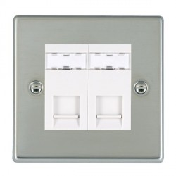 Hamilton Hartland Bright Steel 2 Gang RJ12 Outlet Unshielded with White Insert