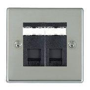 Hamilton Hartland Bright Steel 2 Gang RJ45 Outlet Cat 5e Unshielded with Black Insert