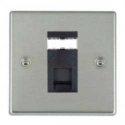 Hamilton Hartland Bright Steel 1 Gang RJ45 Outlet Cat 5e Unshielded with Black Insert
