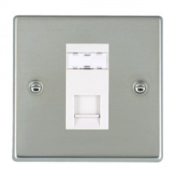 Hamilton Hartland Bright Steel 1 Gang RJ45 Outlet Cat 5e Unshielded with White Insert