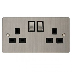 Click Define Stainless Steel Flat Plate Double 13A Socket with Black Inserts