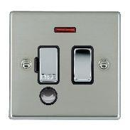 Hamilton Hartland Bright Steel 1 Gang 13A Fused Spur, Double Pole + Neon + Cable Outlet with Black Insert