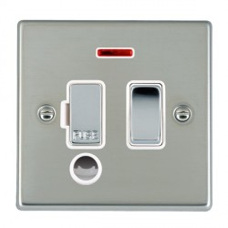 Hamilton Hartland Bright Steel 1 Gang 13A Fused Spur, Double Pole + Neon + Cable Outlet with White Insert