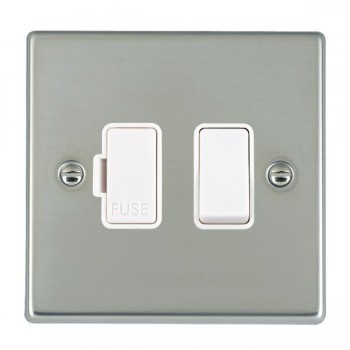 Hamilton Hartland Bright Steel 1 Gang 13A Fused Spur, Double Pole with White Insert