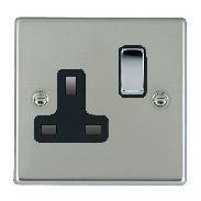 Hamilton Hartland Bright Steel 1 Gang 13A Switched Socket - Double Pole with Black Insert