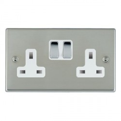 Hamilton Hartland Bright Steel 2 Gang 13A Switched Socket - Double Pole with White Insert & Bright Steel Switches