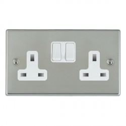 Hamilton Hartland Bright Steel 2 Gang 13A Switched Socket - Double Pole with White Insert & White Switches