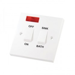 Selectric Square LG221N 20A Double Pole Switch with Sink/Bath Switch and Neon