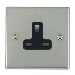 Hamilton Hartland Bright Steel 1 Gang 13A Unswitched Socket with Black Insert
