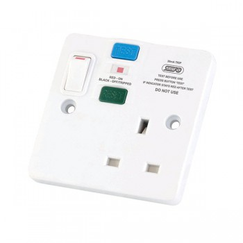 Selectric Square SPL-2 1 Gang Double Pole Switched RCD Socket