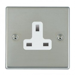 Hamilton Hartland Bright Steel 1 Gang 13A Unswitched Socket with White Insert