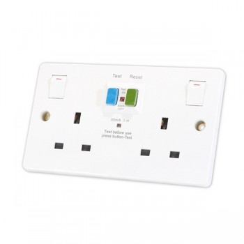 Selectric Square SPL-RCD2GS 2 Gang Double Pole Switched RCD Socket