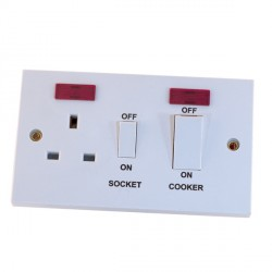 Selectric Square LG967 45A Cooker Unit with 13A Switched Socket and Neon - White Rockers