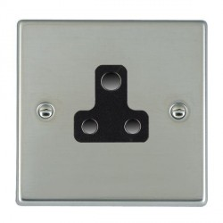 Hamilton Hartland Bright Steel 1 Gang 5A Unswitched Socket with Black Insert