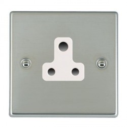 Hamilton Hartland Bright Steel 1 Gang 5A Unswitched Socket with White Insert