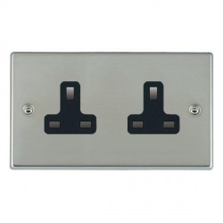 Hamilton Hartland Bright Steel 2 Gang 13A Unswitched Socket with Black Insert