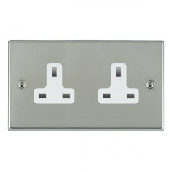 Hamilton Hartland Bright Steel 2 Gang 13A Unswitched Socket with White Insert