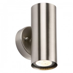 Knightsbridge 2x35W Curved Stainless Steel Up/Down Wall Light
