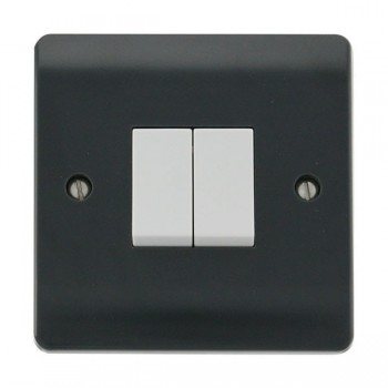 Click Part M Anthracite Grey 10AX 2 Gang 2 Way Plate Switch