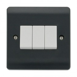 Click Part M Anthracite Grey 10AX 3 Gang 2 Way Plate Switch
