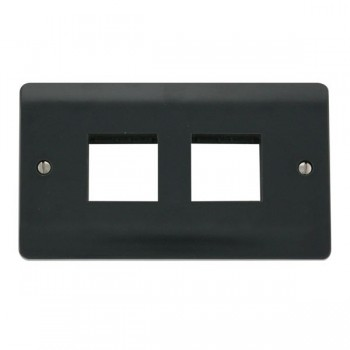 Click Part M Anthracite Grey Double Plate 2 x 2 Aperture Module Plate