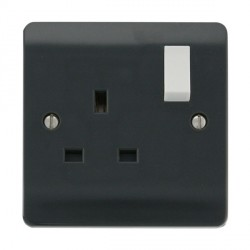 Click Part M Anthracite Grey 13A 1 Gang DP Switched Socket