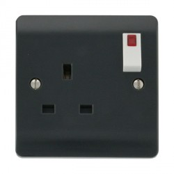 Click Part M Anthracite Grey 13A 1 Gang DP Switch with Neon