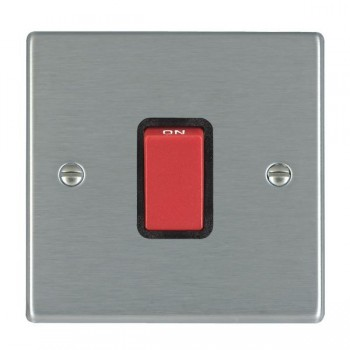 Hamilton Hartland Satin Steel 1 Gang 45A Double Pole Cooker Switch with Red Rocker with Black Insert