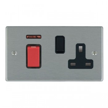 Hamilton Hartland Satin Steel 1 Gang Double Pole 45A Red Rocker + 13A Switched Socket with Black Insert