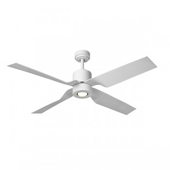Fantasia Tau 50 inch Remote Control Matt White Low Energy Ceiling Fan with White Blades and LED Light