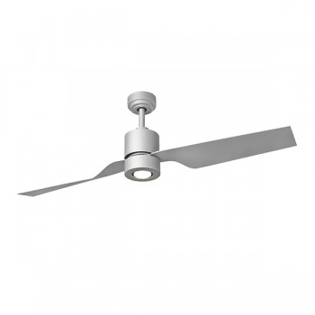Fantasia Tau 50 inch Remote Control Matt Silver Low Energy Ceiling Fan with Matt Silver Blades and LED Light