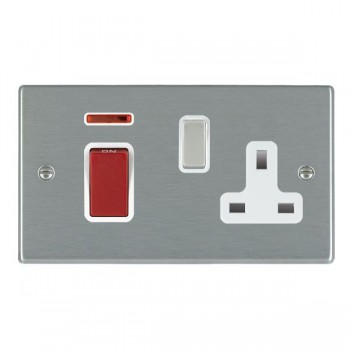 Hamilton Hartland Satin Steel 1 Gang Double Pole 45A Red Rocker + 13A Switched Socket with White Insert