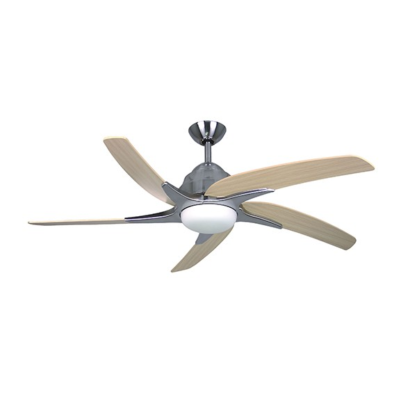 Fantasia Viper Plus 54 Inch Remote Reverse Stainless Steel Ceiling Fan With Maple Blades And Light